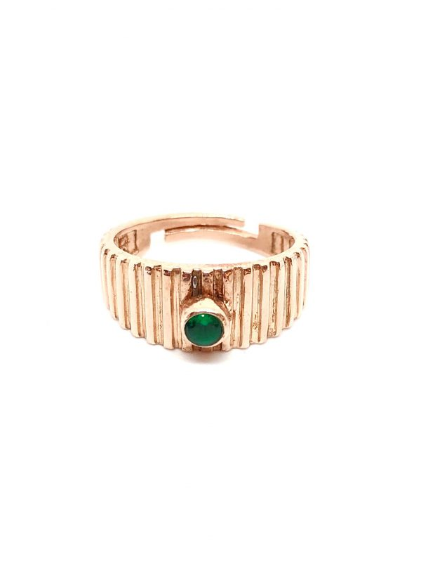Green solitaire pinky finger ring