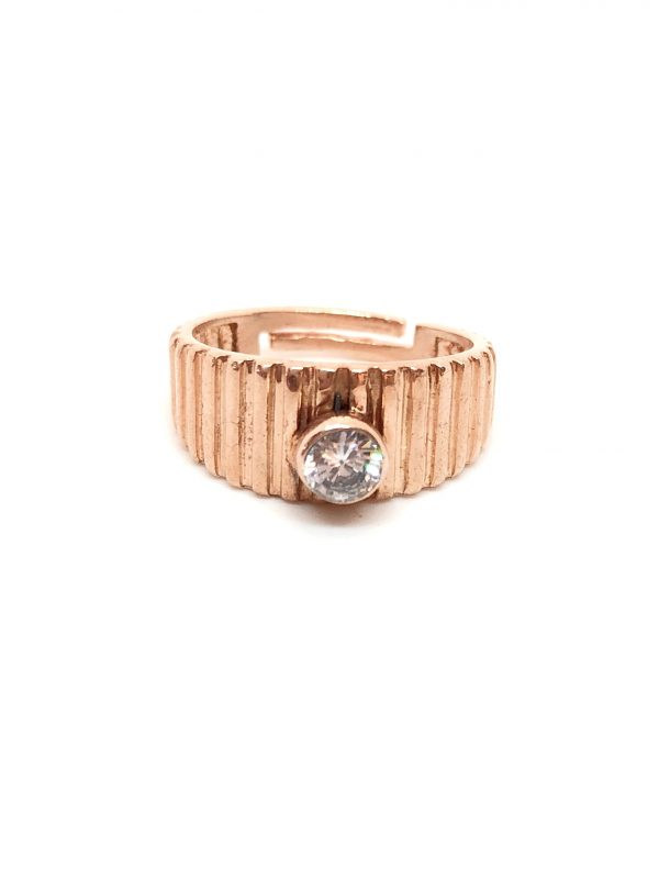 Clear solitaire pinky finger ring