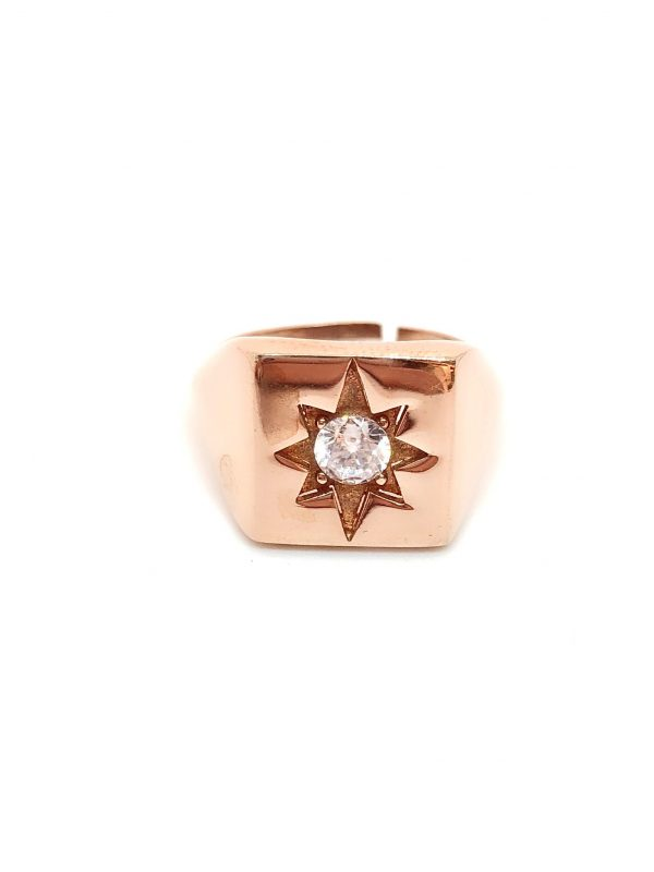 Square north star pinky finger ring