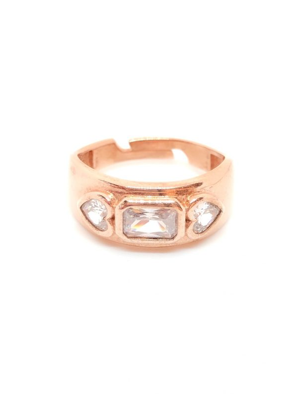 Clearb baguette gemstone pinky finger ring