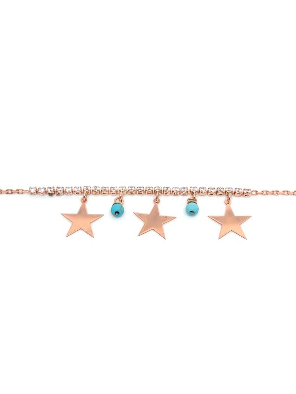 Turquoise and star drop anklet