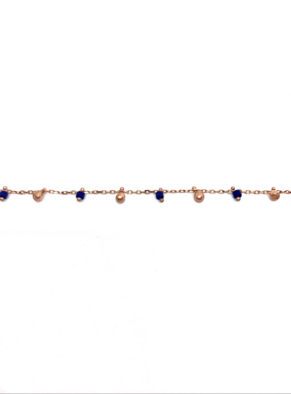 Navy blue enamel and ball anklet