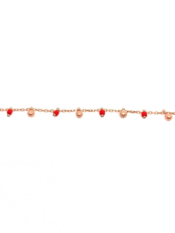 Red enamel and ball anklet