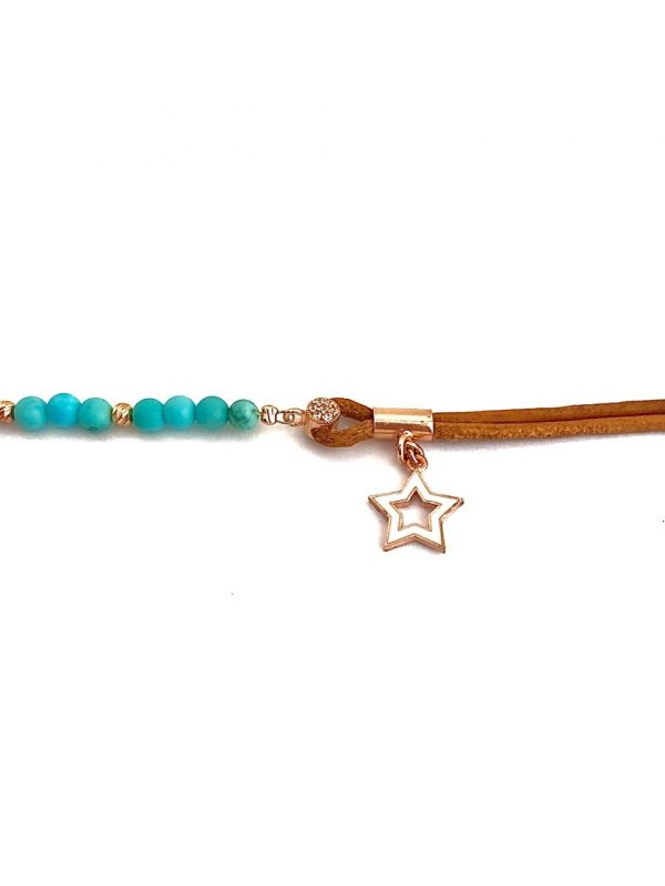 Suede and turquoise gemstone anklet