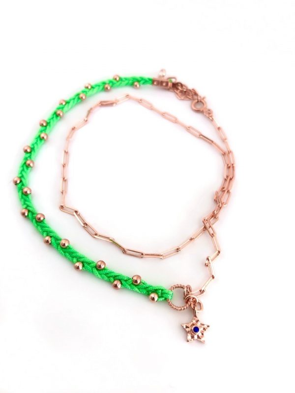Neon green double strand star anklet