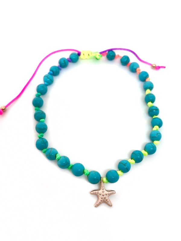 turquoise  braided anklet