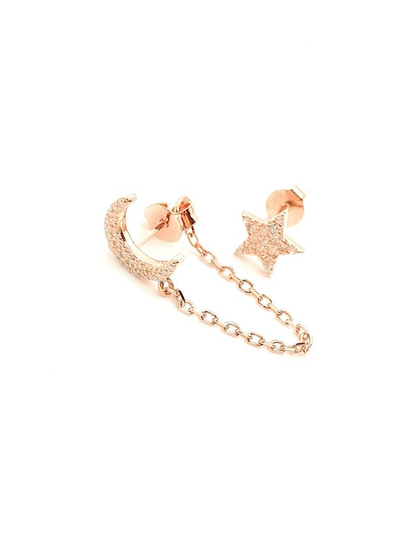 chain moon and star earring
